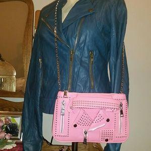 Handbags - Studded Moto Jacket Crossbody Bags Pink/Black New